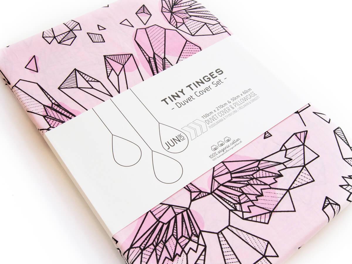 Vaaleanpunainen CRYSTAL SWANS -pussilakanasetti