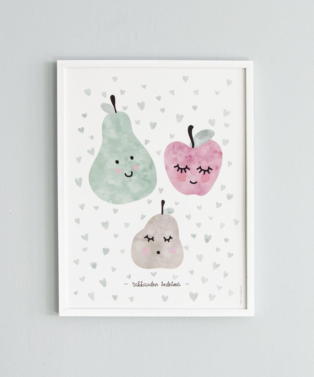 Rakkauden hedelmä -juliste, jossa päärynä, omena ja vauvahedelmä.