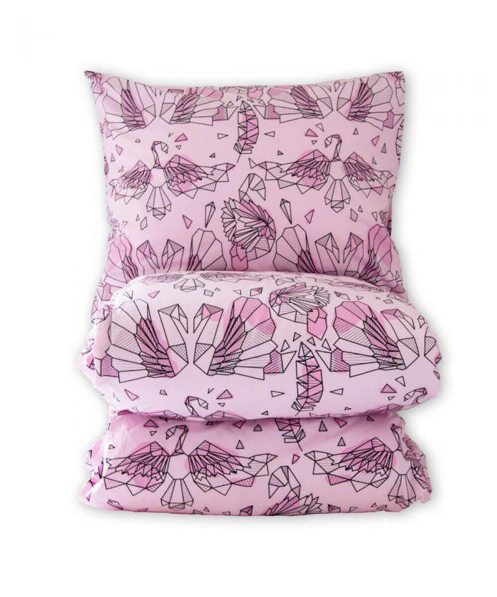 Joutsenkuvioinen pussilakanasetti, vaaleanpunainen.
