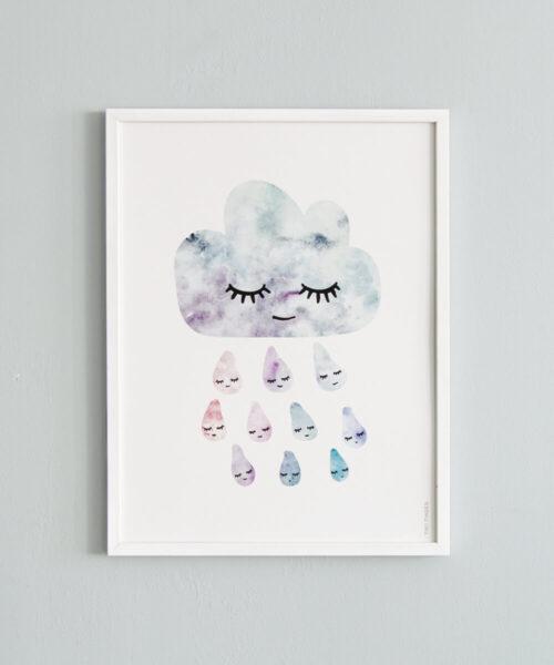 Juliste, jossa lempeästi hymyilevä sadepilvi ja pisaroita.