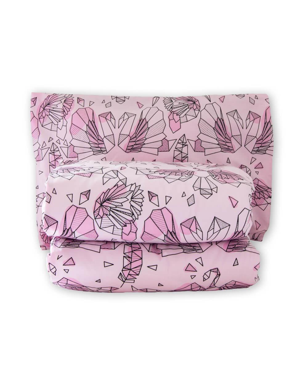 Lasten vaaleanpunainen pussilakanasetti, joutsenkuvio.