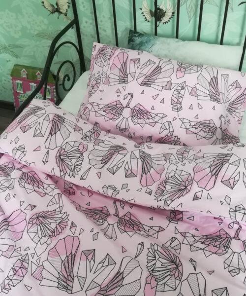 Lasten pussilakanasetti, vaaleanpunainen, joutsenet.