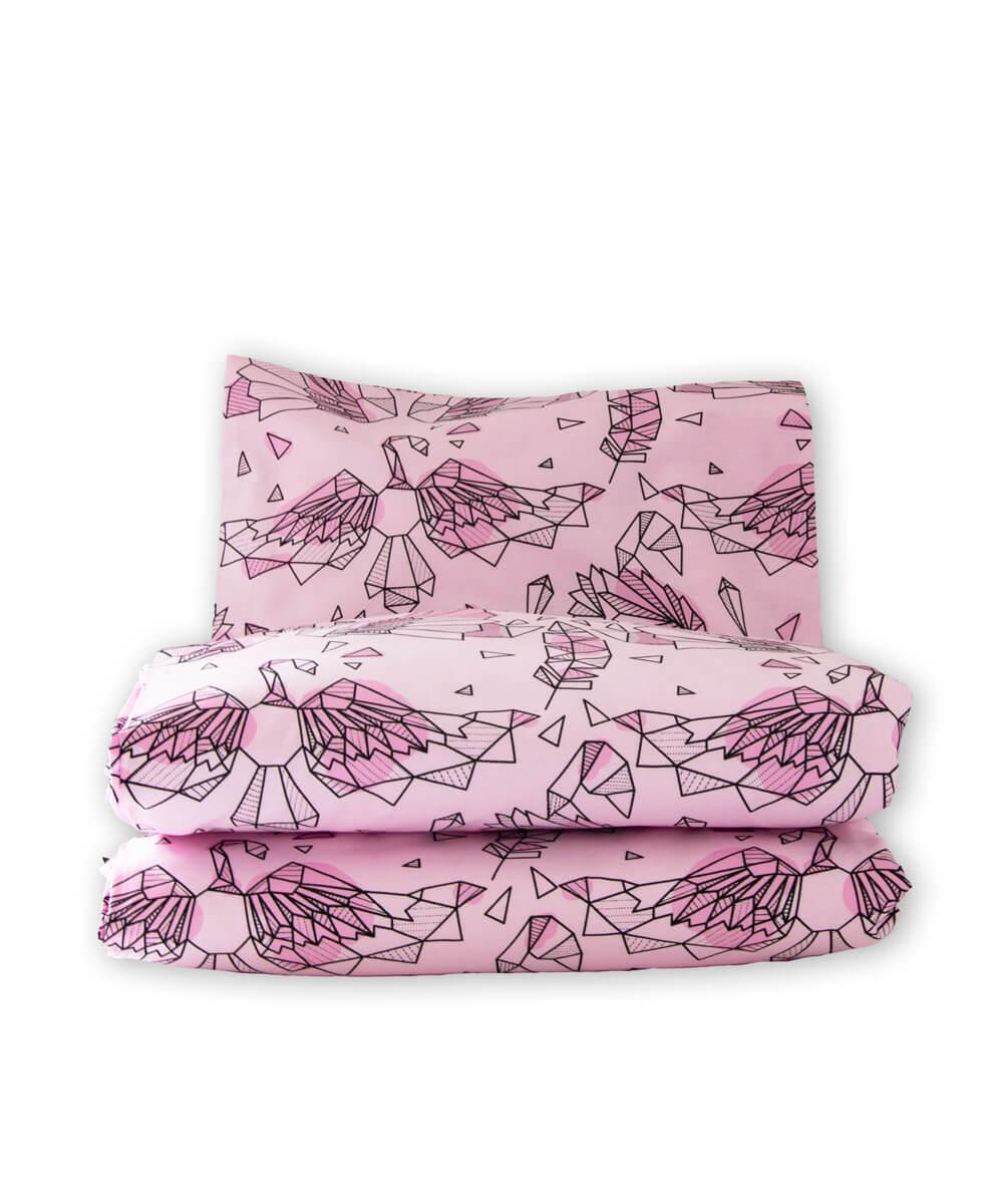 Vaaleanpunainen vauvan pussilakanasetti, pussilakana ja tyynyliina luomupuuvillaa.