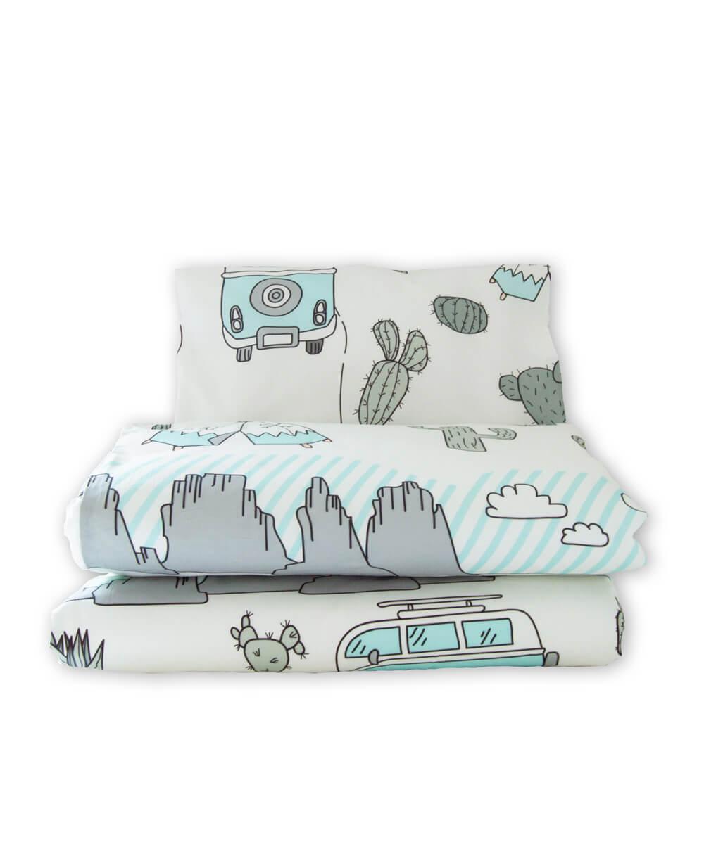Vauvan pussilakanasetti, pussilakana ja tyynyliina luomupuuvillaa, aavikkoseikkailu bohotyylinen painokuosi.