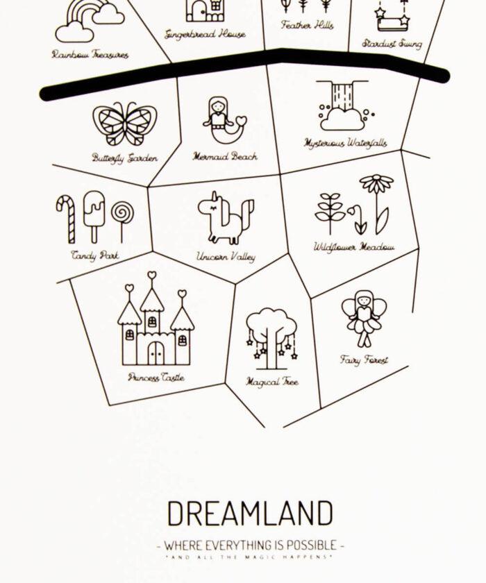 DREAMLAND -juliste, jossa karttaan merkittynä 13 taianomaista paikkaa, kuten Gingerbread House ja Mermaid Beach.