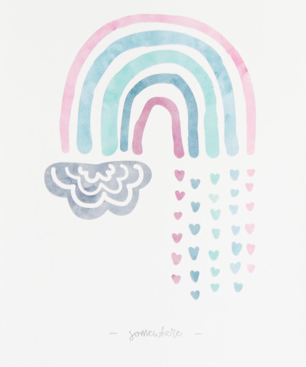 Pastellisävyinen sateenkaarijuliste, jossa sydämiä ja suloinen pilvi.