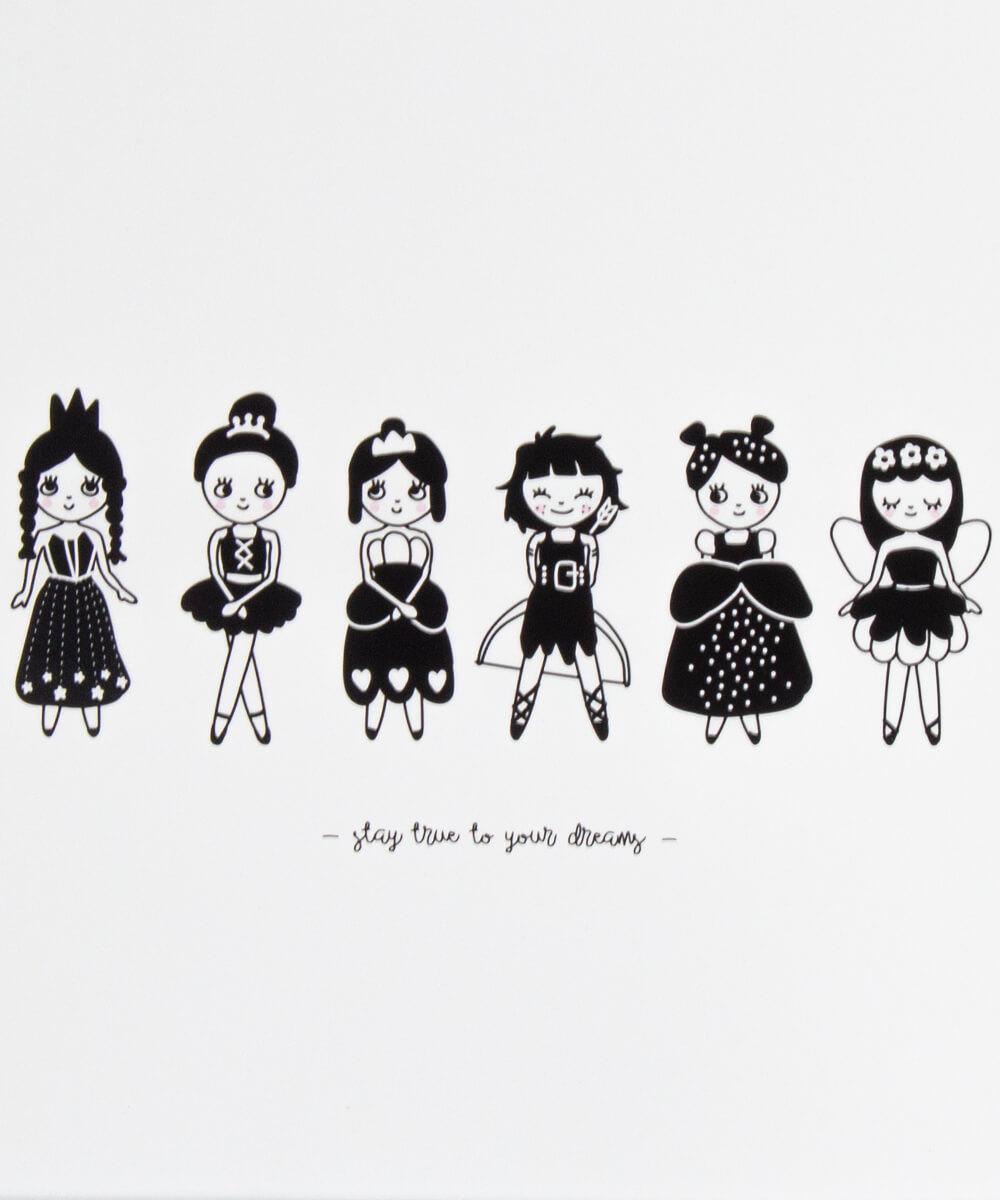 Juliste, jossa 5 perinteisempää prinsessatyttöä ja yksi soturiprinsessa