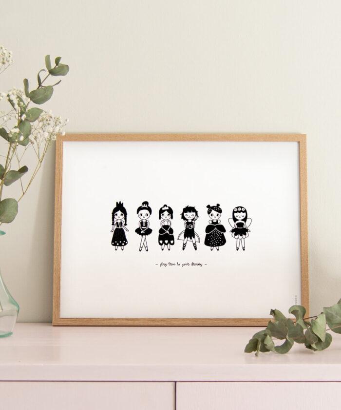 Mustavalkoinen prinsessatyttöjuliste.