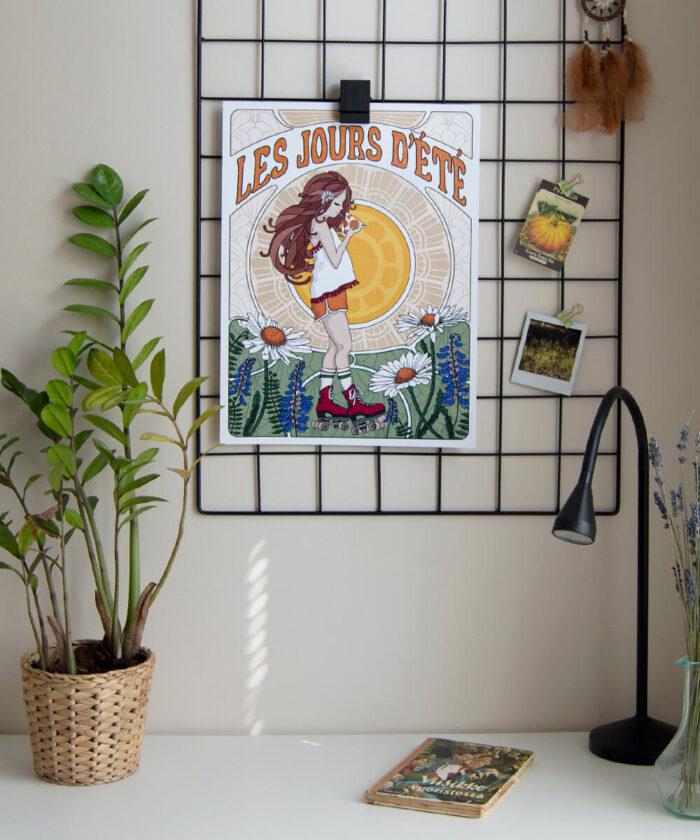 Aurinkoinen vintagetyylinen lastenhuoneenjuliste ja ristikkomuistitaulu