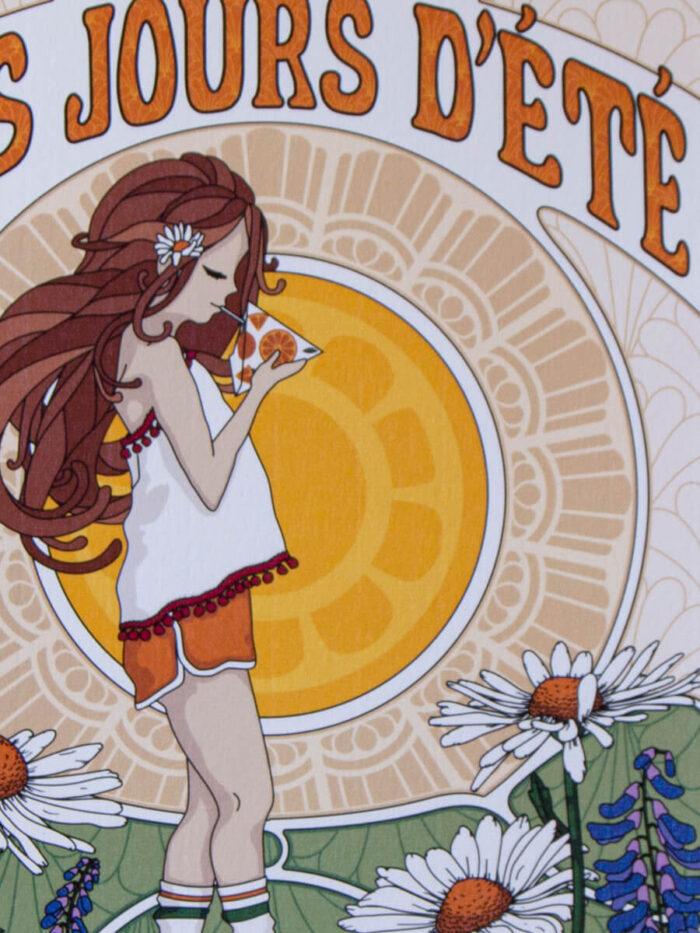Lähikuva kesäisestä tyttöjulisteesta, jossa näkyy designpaperin elävä pinta.