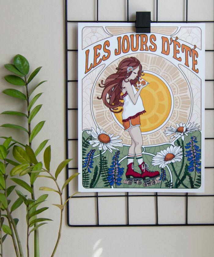 Retrotyylinen juliste, jossa tyttö juo kolmiopillimehua kukkakedolla.