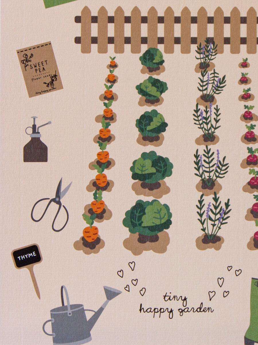 Lähikuva puutarhanhoitoaiheisesta lasten julisteessa, jossa näkyy designpaperin struktuuripinta.