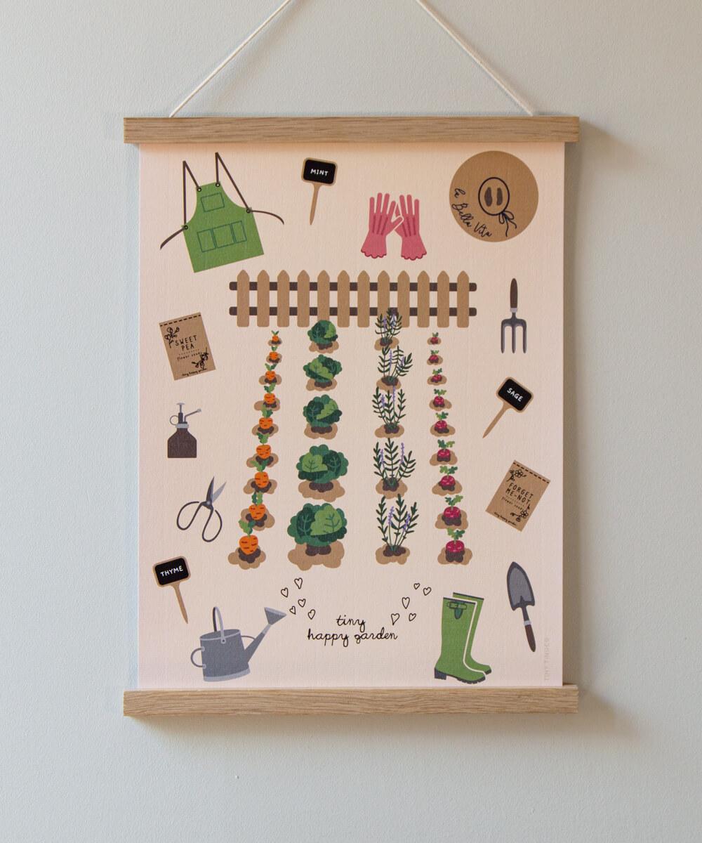 Lastenhuoneen juliste, jossa kasvimaa ja puutarhavälineitä.